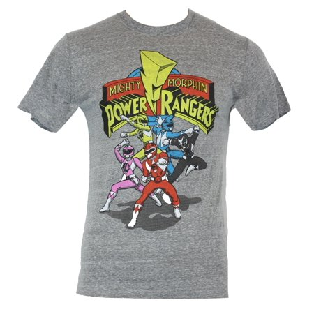 Mighty Morphin Power Ranger Mens T-Shirt - Cartoon Fight Poses Under Logo (Power Rangers Suits)