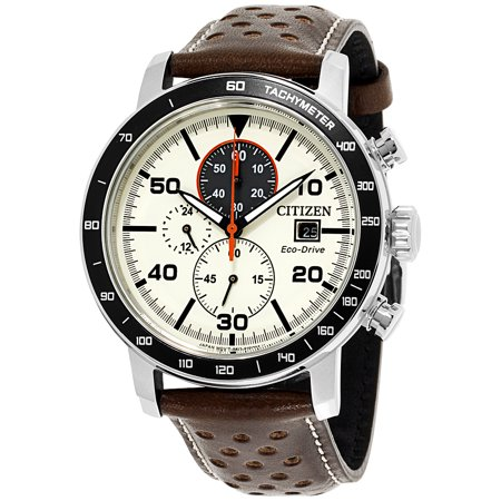 CA0649-06X Men's Brycen Eco-Drive Beige Dial Brown Leather Strap Chronograph Watch Dial Leather Chronograph Watch