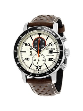 Citizen Men's CA0649-06X Brycen Eco-Drive Beige Dial Brown Leather Strap Chronograph Watch