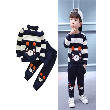 Autumn Winter Kids Baby Girl Boy Clothes Set Striped Bear Tops+Pants - Bear Outfit