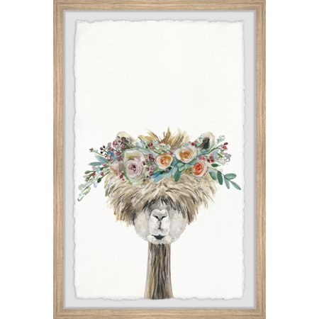 Marmont Hill Laid-back Flower Crowned Llama Framed Wall Art - Flower Hill Mall Halloween