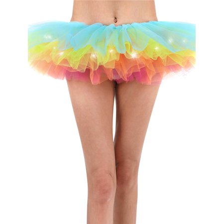 Rainbow Tutu for Women Led Light Up Neon Party Dance Tutu Skirt, Rainbow (Neon Tutus)