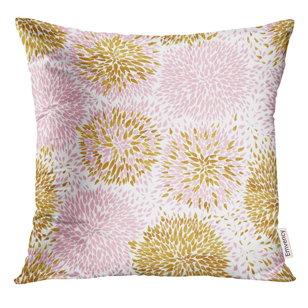 USART Orange Pencil Pink and Gold Flowers Pattern Yellow Floral Pillow Case 16x16 Inches Pillowcase