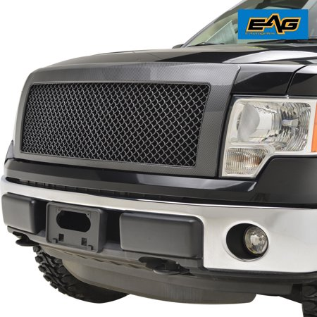 - EAG 09-14 Ford F-150 Grille Black Carbon Fiber Look Replacement ABS Mesh Grill