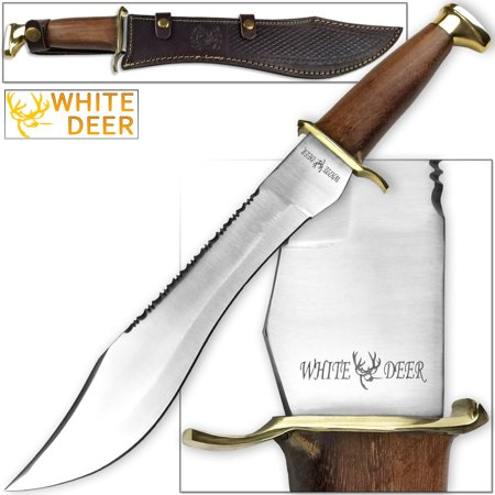 Knife Jungle - WHITE DEER MAGNUM Dave Dundee Bowie Knife Jungle Sawback Seratted Spine w Wood Handle