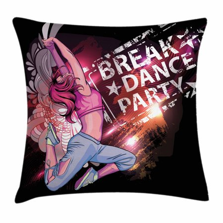Youth Throw Pillow Cushion Cover, Break Dance Party Poster Design with a Teen Girl Jumping Disco Nightclub Lifestyle, Decorative Square Accent Pillow Case, 18 X 18 Inches, Multicolor, by Ambesonne](Disco Style)