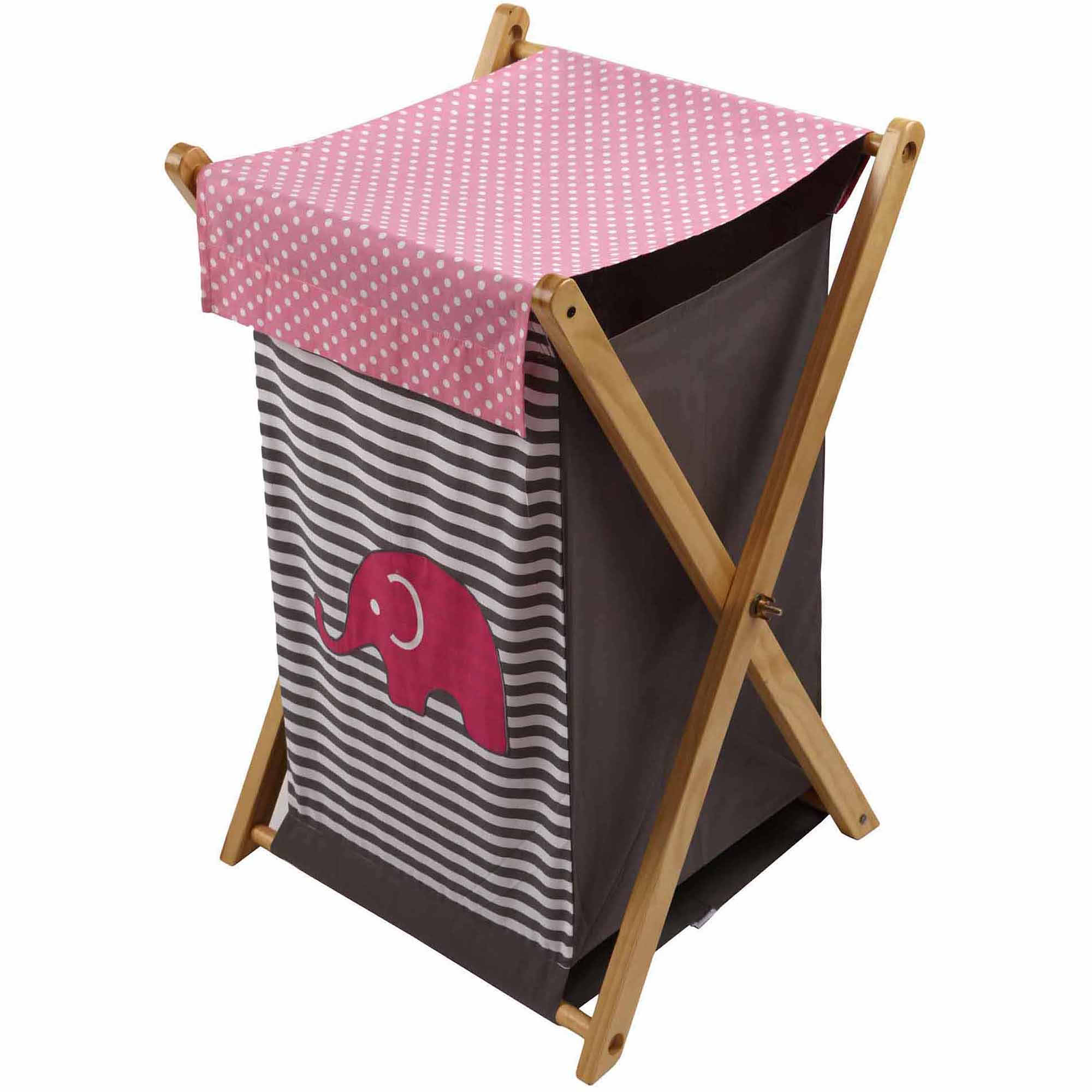 Bacati - Elephants Hamper with Cotton Percale cover, mesh liner and Natural Color Wooden frame, Pink/Gray