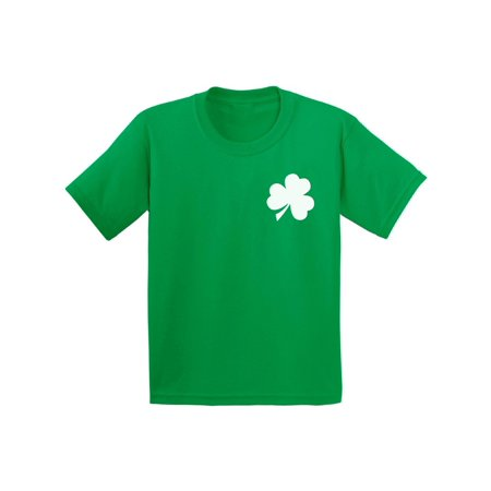 Awkward Styles Shamrock Pocket Size Shirt Shamrock Green T-Shirt for Kids Kids St. Patrick's Day Shirts Lucky Charm Gifts Proud Irish American Youth Green Outfit for St. Paddy's Day Irish Clover Gifts