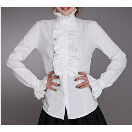 Victorian Womens Long Sleeves Tops High Neck Frilly Ruffle Shirt Blouse