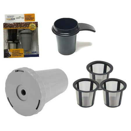 GoldTone Brand Reusable Single Serve Starter Kit for Keurig Includes - (1) My K-Cup Filter Housing and (3) Reusable K-Cup Filter and  (1) 1 OZ Coffee Scoop - BPA Free