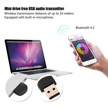 Ymiko Mini Drive Free Usb Bluetooth 4 2 Audio Adapter Transmitter Wireless Usb Dongle Bluetooth Audio Adapter Wireless Usb Dongle Walmart Com