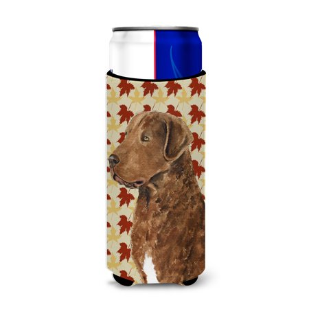 Chesapeake Bay Retriever Fall Leaves Portrait Ultra Beverage Insulators for slim cans (Hunting Chesapeake Bay Retriever Puppies For Sale)