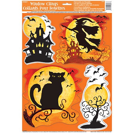 spooky hollow halloween window cling sheet
