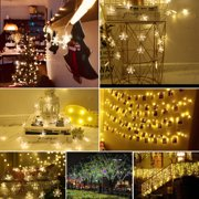 TSV Snowflake Led Fairy String Lights 9.8ft/20LEDs Battery Operated Christmas Lights With 2 Lighting Modes Waterproof Decorative Lights for Bedroom, Patio, Garden, Gate, Yard, Party (Warm White)