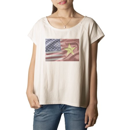 America & Vietnam Flag Printed 100% Cotton Fashion Plus Size T-shirt WTS_01 2XL