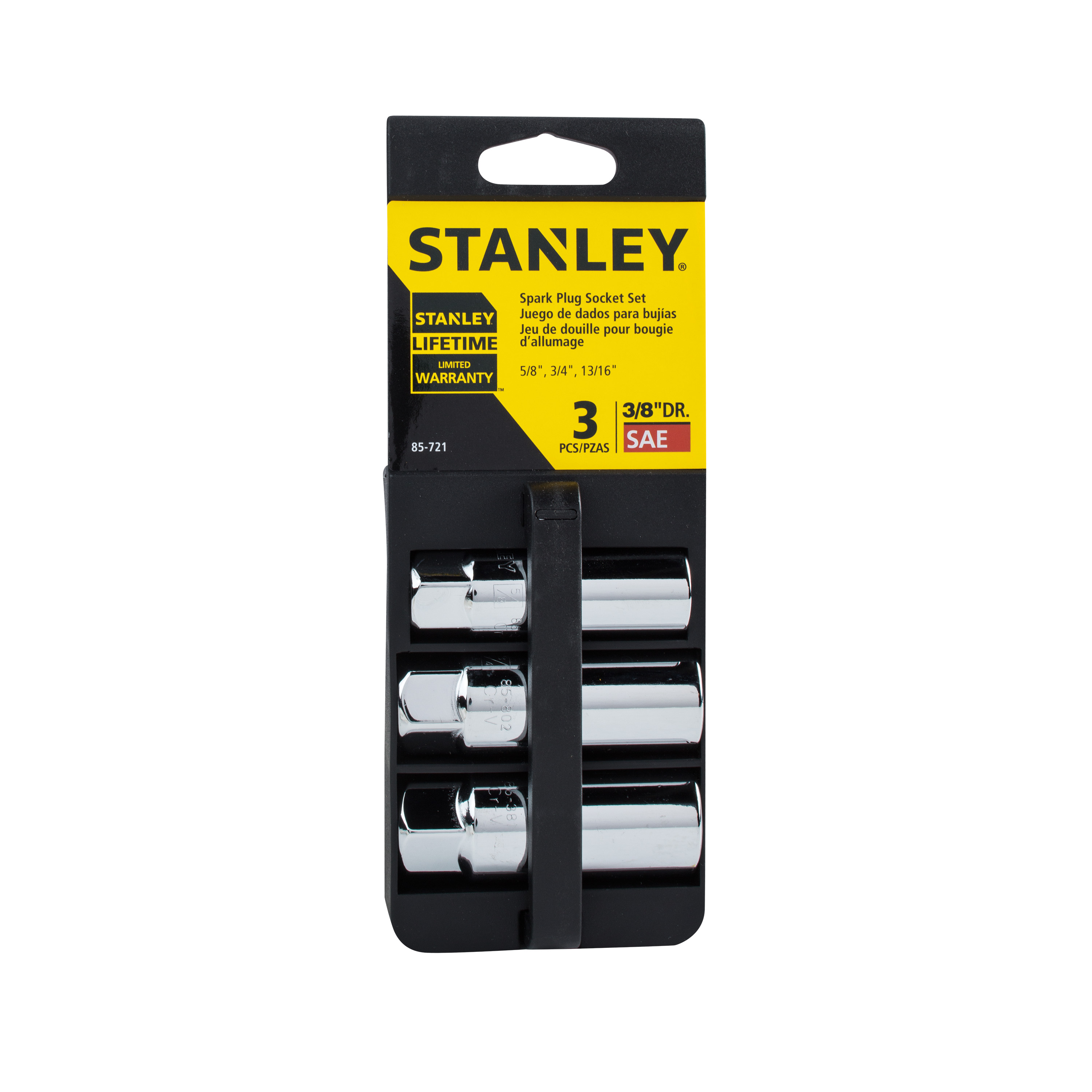 STANLEY 85-721 3/8-Inch 6-Point Spark Plug Socket Set, 3-Piece