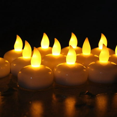 AGPtek 12PCS Yellow Battery Operated Waterproof LED Flickering Flameless Tealight Candles for Wedding Birthday Party - Flickering Flameless Tea Lights