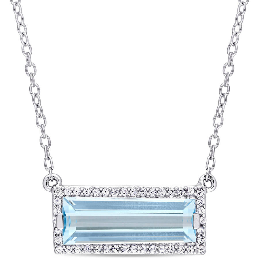 "Tangelo 3 Carat T.G.W. Sky Blue Topaz and White Sapphire Sterling Silver Baguette Necklace, 17"" by Tangelo"