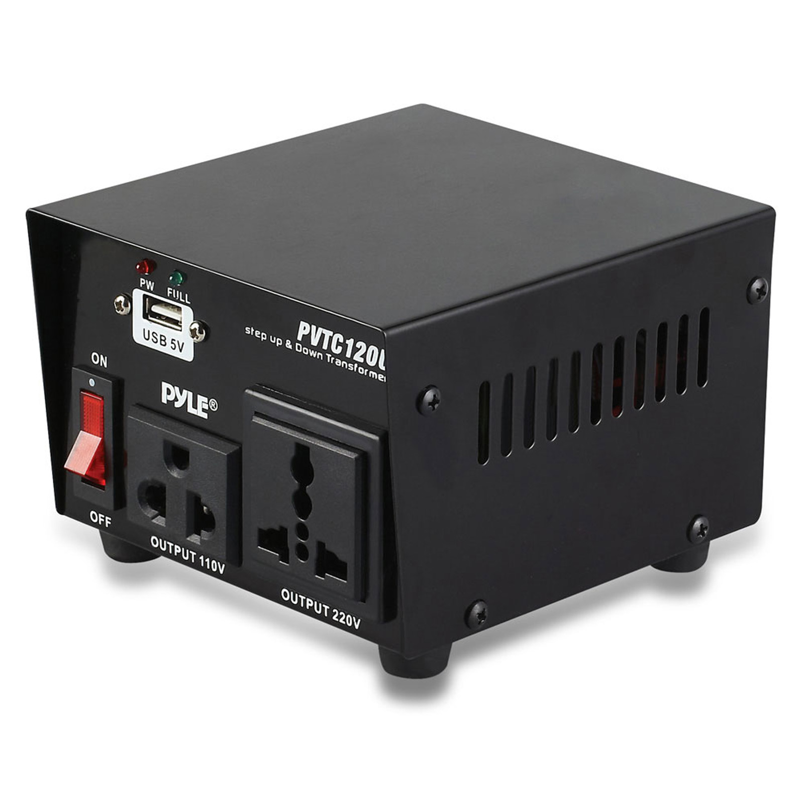 Pyle PVTC120U Step Up and Step Down Voltage Converter Transformer with USB Charging Port