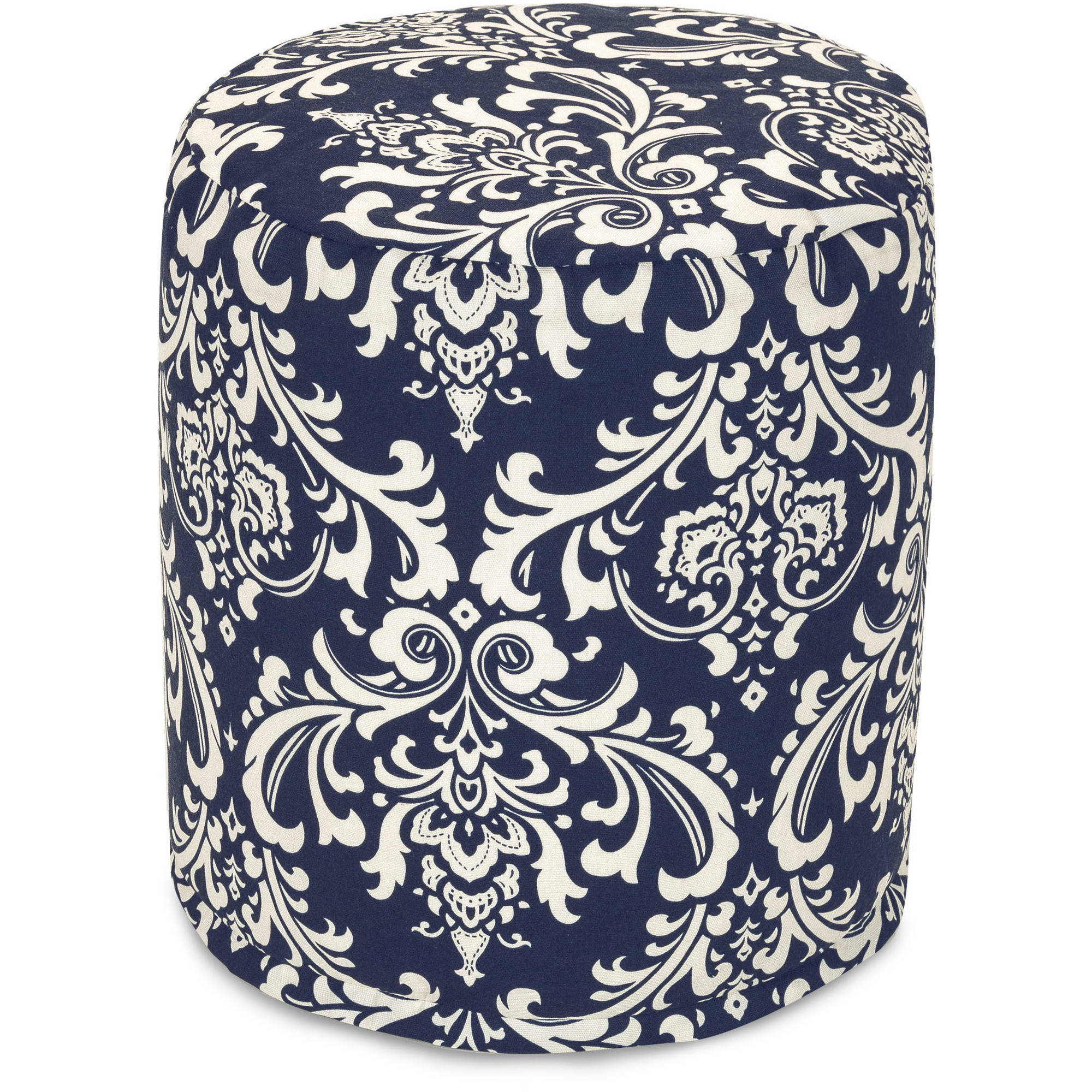 Majestic Home Goods Navy Blue French Quarter Small Pouf, Indoor/Outdoor