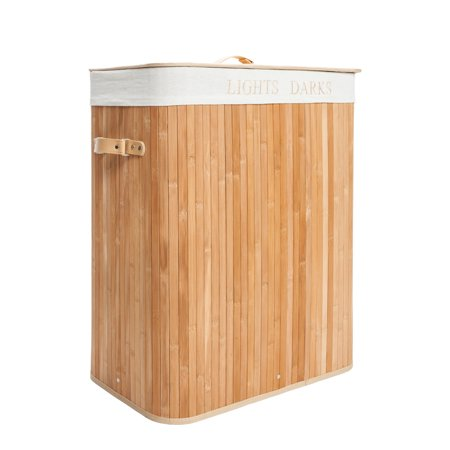 UBesGoo Natural Wood Laundry Hamper Bag Wicker Organizer Clothes Washing Storage Basket ()
