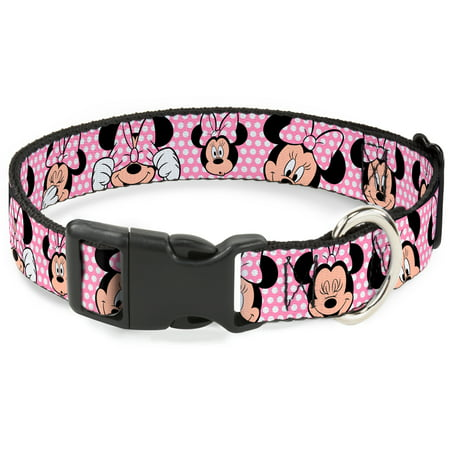 "Plastic Clip Collar - Minnie Mouse Expressions Polka Dot Pink White - Large Pet Collar 1.0"" Large"