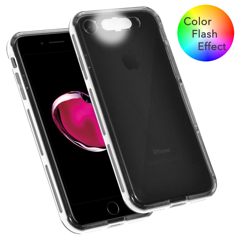 iPhone 7 Case, Dual Layer Slim Protective Bumper Cover Clear Back Case with Color Flash Effect for iPhone 7 - Clear/ White