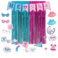 Girl or Boy Gender Reveal Party Photo Booth Kit and Supplies, with Door Curtains