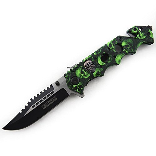 Unlimited Wares Green Zombie Skulls Assisted Opening Folding Knife 4.75-Inch Closed