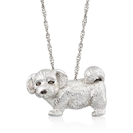 Ross-Simons Sterling Silver Dog Pin Pendant With Smoky Quartz Accents