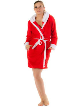 Casual Nights Women's Plush Fleece Hooded Bathrobe Robe