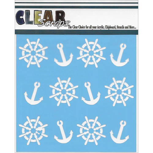 """Clear Scraps Stencils, 6"""" x 6"""", Anchors and Helms"""
