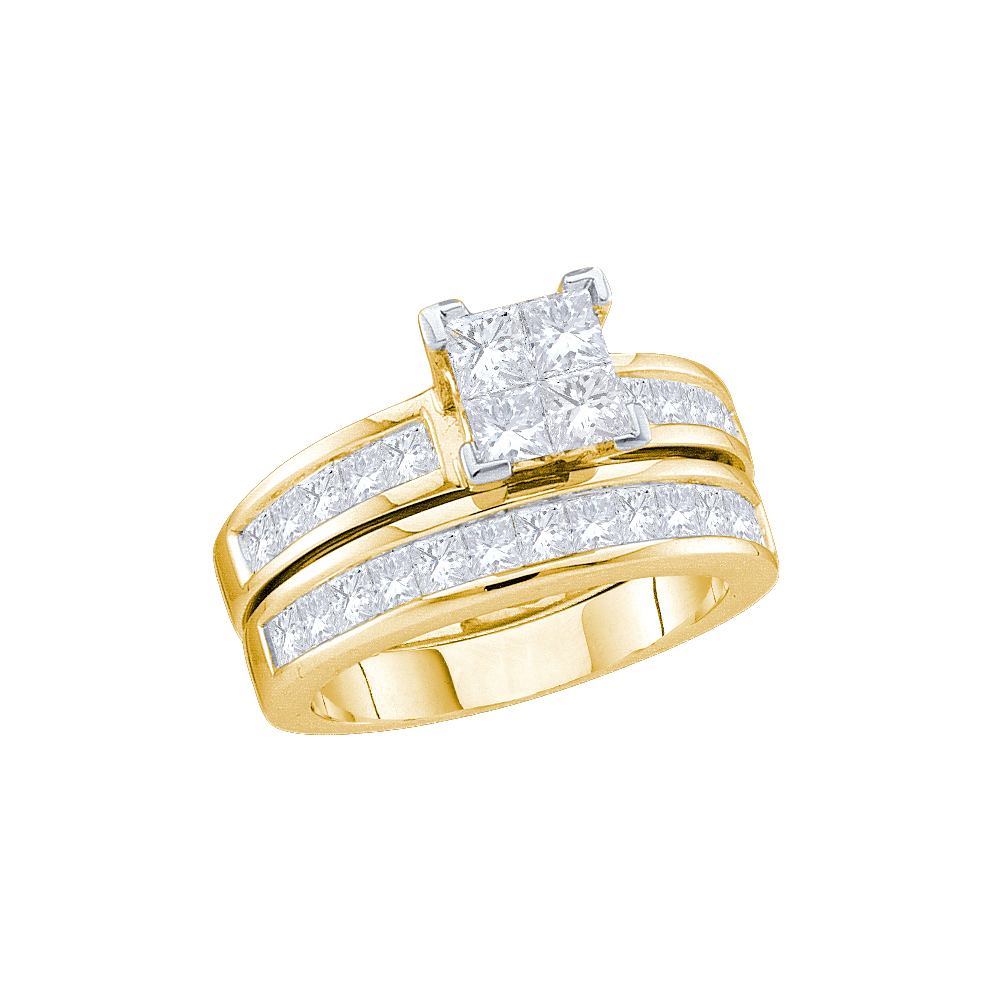 Size 7 14k Yellow Gold Princess Cut Diamond Bridal Wedding Engagement Ring Band Set 2.00 Cttw by AA Jewels