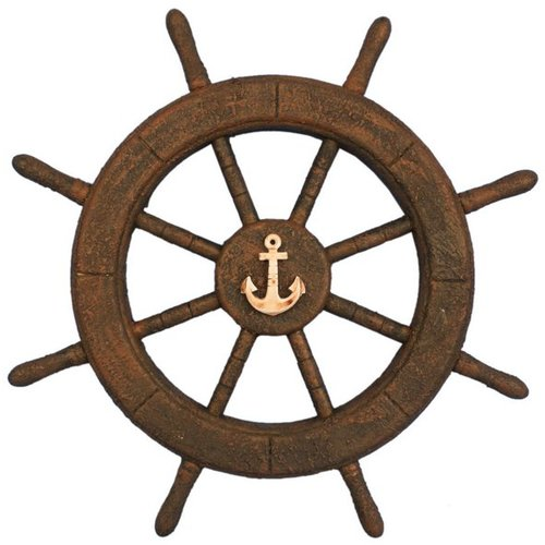 Handcrafted Nautical Decor Flying Dutchman Ghost Pirate Decorative Ship Wheel with Anchor Wall Decor