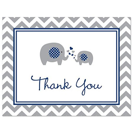 50 Cnt Navy Chevron Elephant Baby Thank You Cards - image 3 of 3