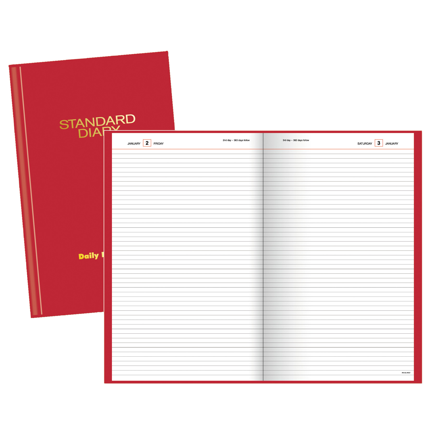 AT-A-GLANCE Standard Diary Recycled Daily Reminder, Red, 4 1/8 x 6 5/8, 2018