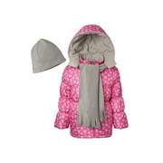 Pink Platinum Heart print puffer jacket with gwp scarf (big girls)