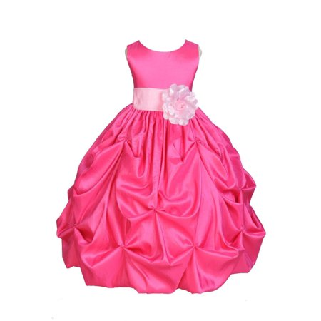 3fdd1acb6c Ekidsbridal Taffeta Bubble Pick-up Fuchsia Pink Flower Girl Dress Weddings  Summer Easter Dress Special Occasions Pageant Toddler Girl s Clothing  Holiday ...
