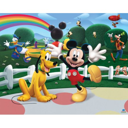 1/4 Sheet Mickey Mouse Club Pluto Rainbow Edible Frosting Cake Topper* - Mickey Mouse Sheet Cake