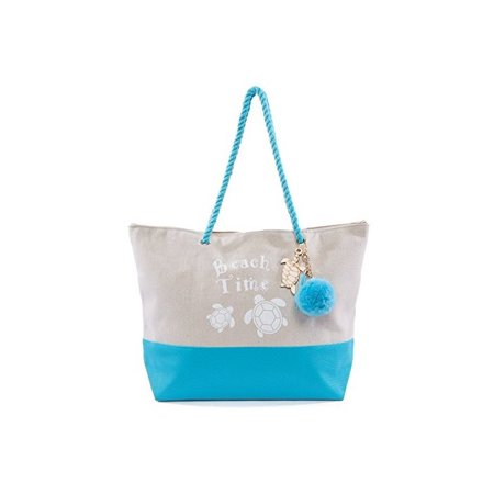 Pier 17 Canvas Beach Bag Is Good For Travel And Beach With Zipper And Nice Charm, Tote Pom Pom Bag Has A Pocket Inside. (Light Blue (Life Is Good Canvas Tote)