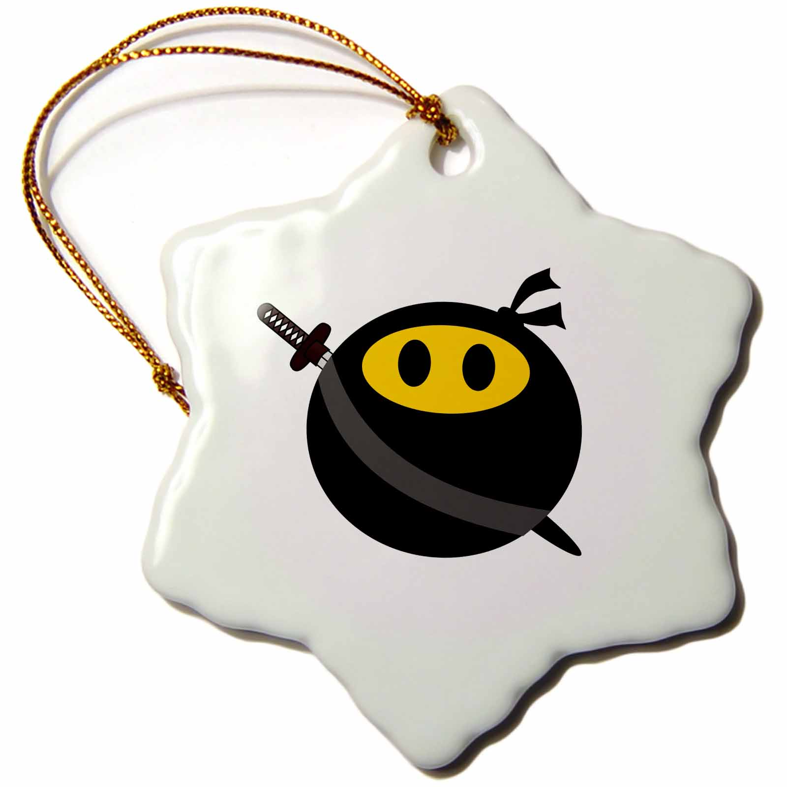 3dRose Ninja smiley face - funny masked yellow happy face - fun cute spy with Japanese sword and black mask, Snowflake Ornament, Porcelain, 3-inch