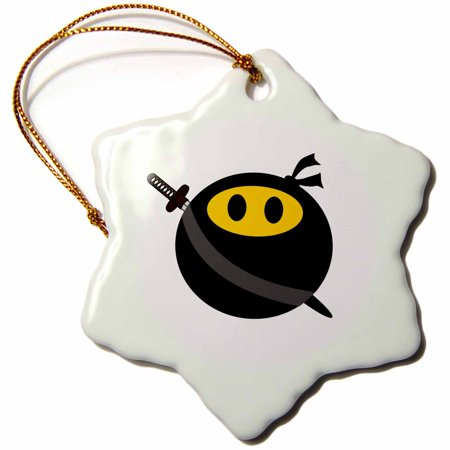3dRose Ninja smiley face - funny masked yellow happy face - fun cute spy with Japanese sword and black mask, Snowflake Ornament, Porcelain, 3-inch (Ninja Face Mask)