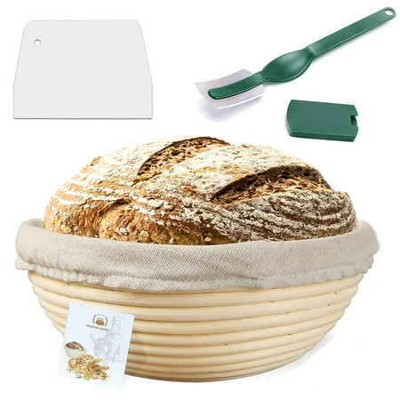 9 Inch Banneton Proofing Basket,Coolmade Bread Proofing Basket +Bread Lame +Dough Scraper+ Linen Liner Cloth for Professional & Home Bakers ()