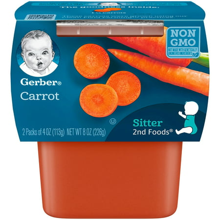 Gerber 2nd Foods Carrot Baby Food, 4 oz. Tubs, 2 Count (Pack of (Best Food For 9 Month Old Baby)