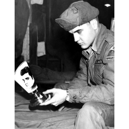 Army Private Elvis Presley Contemplates His Likeness On A German Manufactured Lampshade While On Duty In Grafenwoehr Still](Elvis Shades)