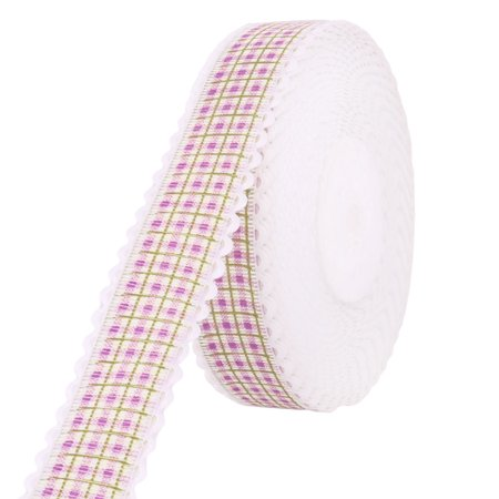 Holiday Polyester Plaid Print DIY Cake Packing Ribbon Roll Purple 2.5cm Width (Purple Plaid Print)