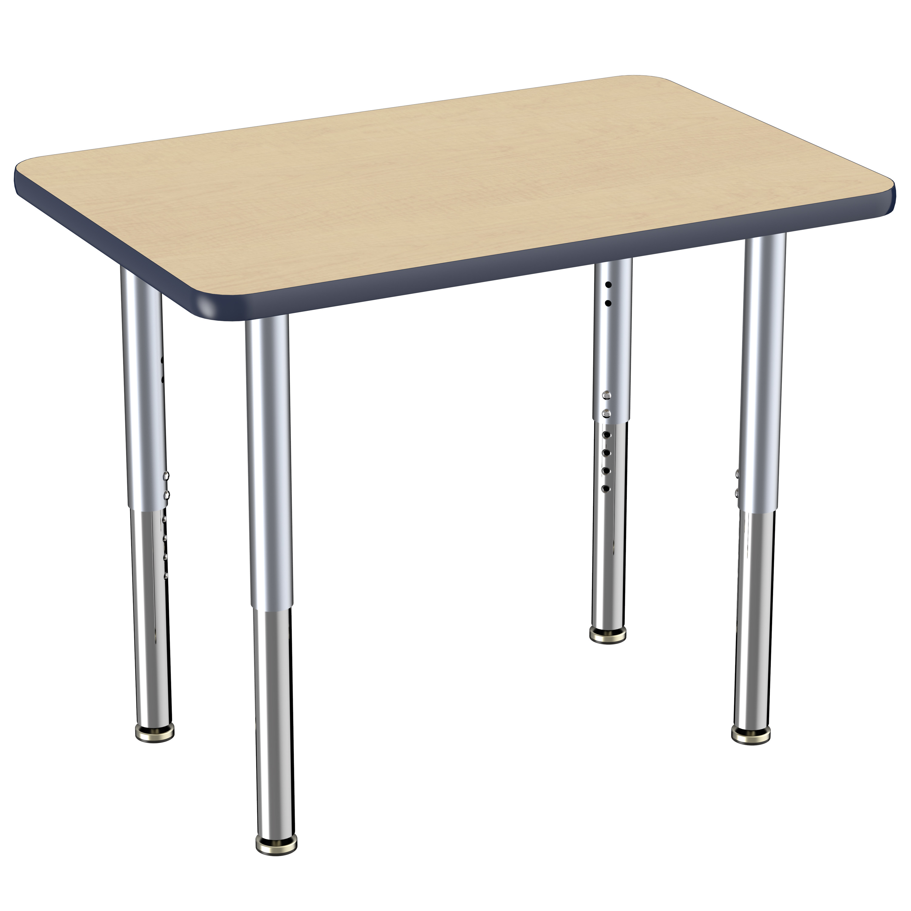 ECR4Kids 24in x 36in Rectangle Everyday T-Mold Adjustable Activity Table Maple/Navy/Silver - Super Leg