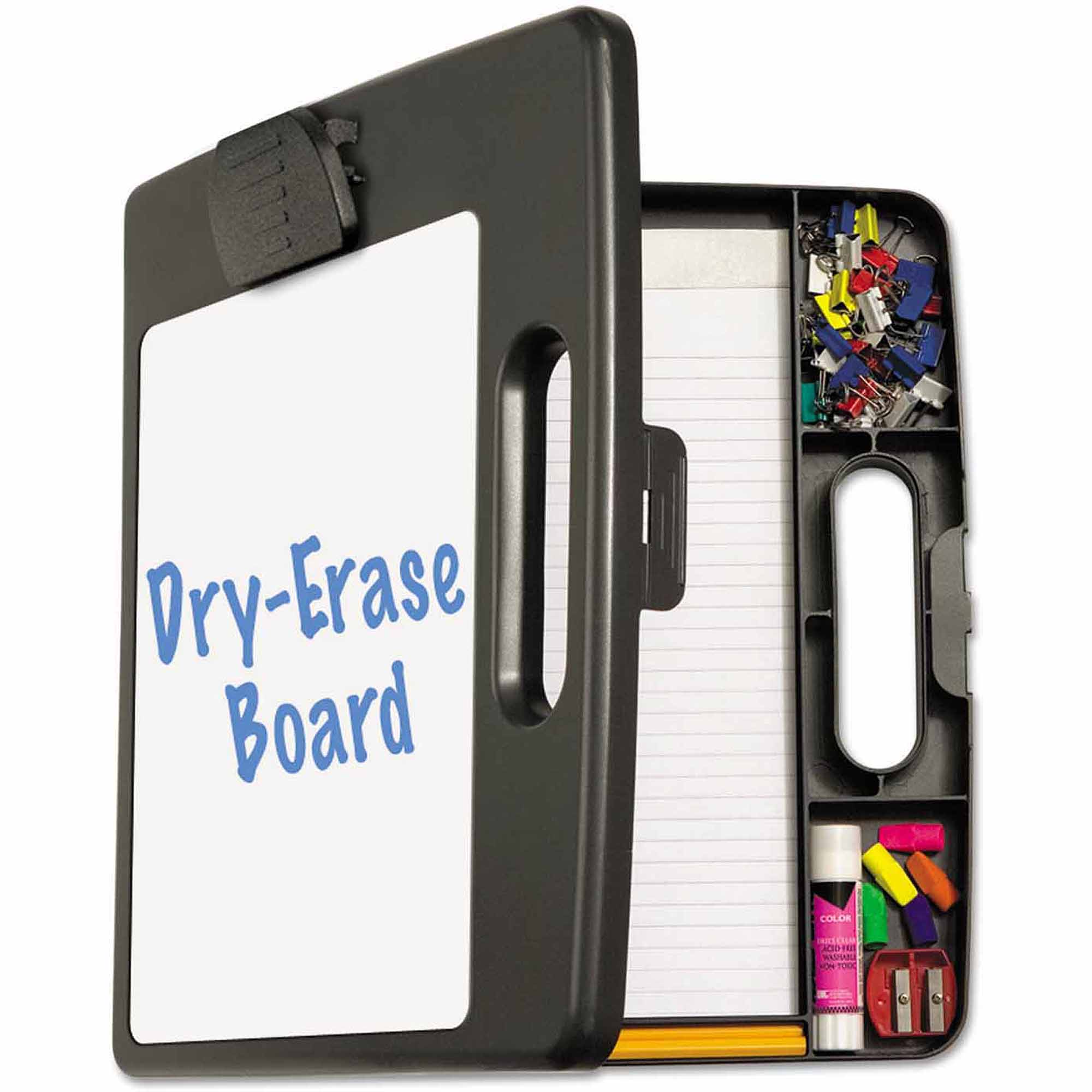 "Officemate Portable Dry Erase Clipboard Case, 4 Compartments, 1/2"" Capacity, Charcoal"