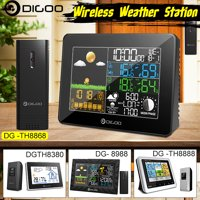 Wireless Weather Forecast Station with Sensor Indoor Outdoor Thermometer Hygrometer Barometer Snooze Desk Alarm Clock Temperature Humidity Moon Phase Meter
