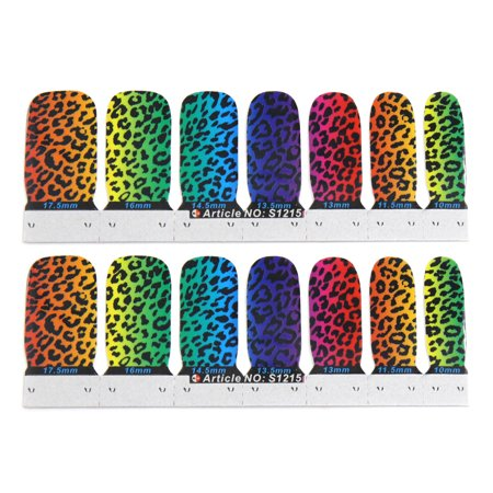 1 Set Leopard Pattern Nail Patch Stickers DIY Nails Art Tips Adhesive - Diy Leopard Halloween Makeup